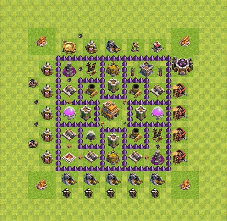Base plan (layout) for trophies collecting TH  7 (Town Hall level 7, TH 7), variant 23