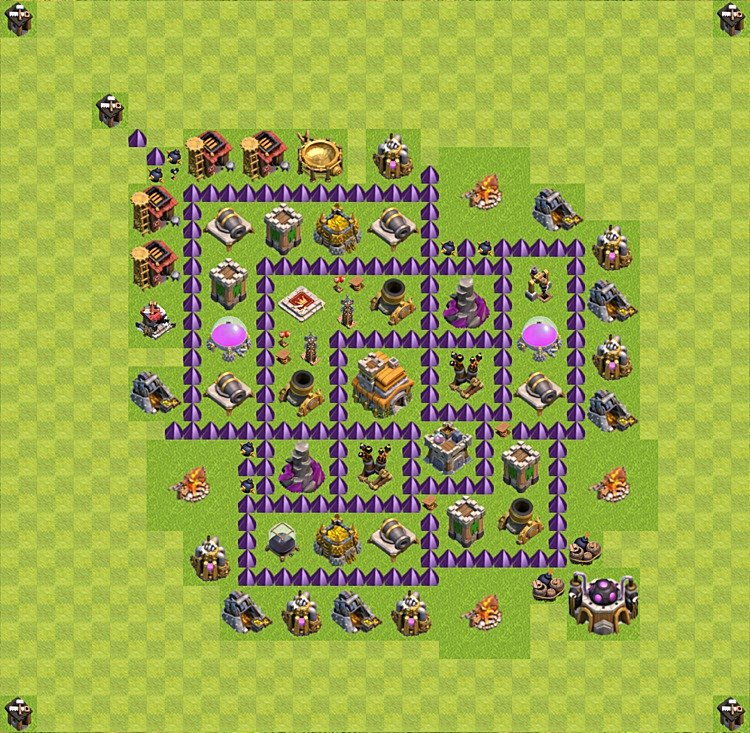Base plan (layout) for trophies collecting TH  7 (Town Hall level 7, TH 7), variant 33