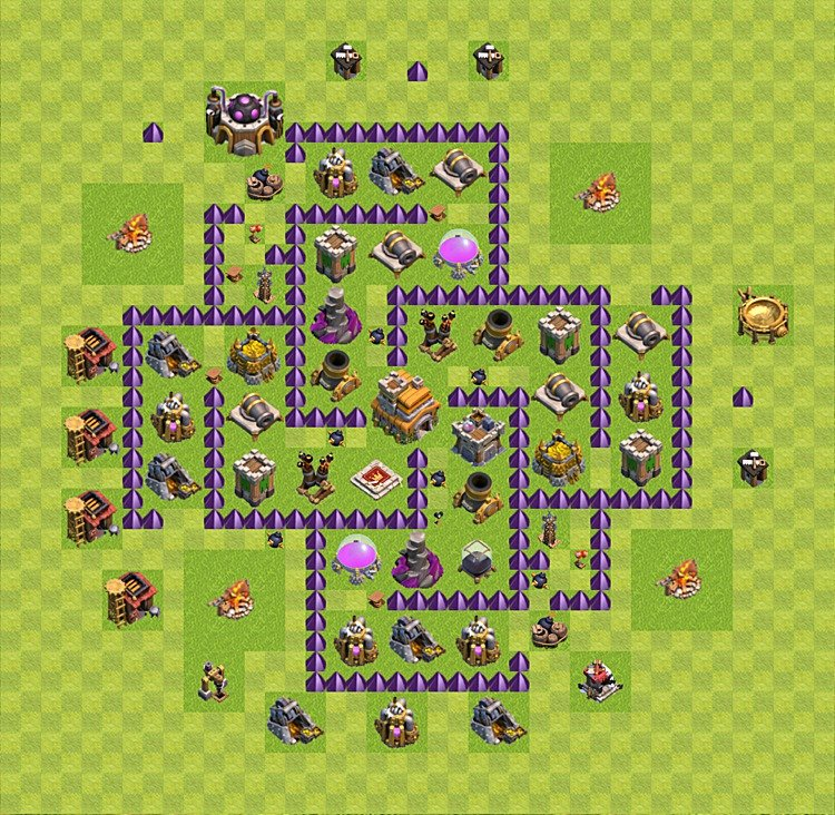 Base plan (layout) for trophies collecting TH  7 (Town Hall level 7, TH 7), variant 36