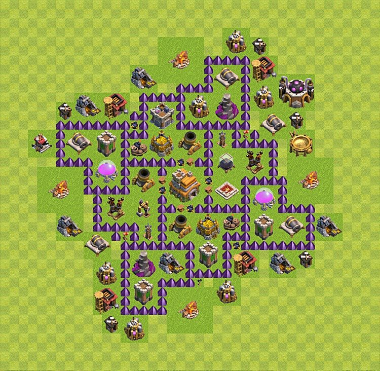 clash of clans base plan layout for trophies town hall level 7