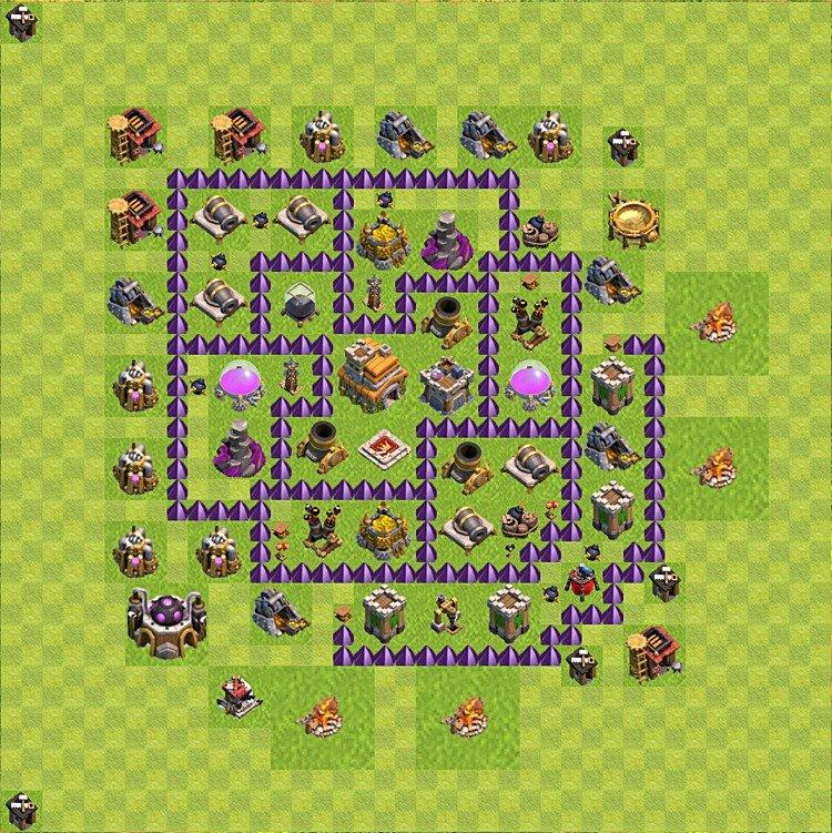 clash of clans тх 7 расстановка фарм и кубки #10