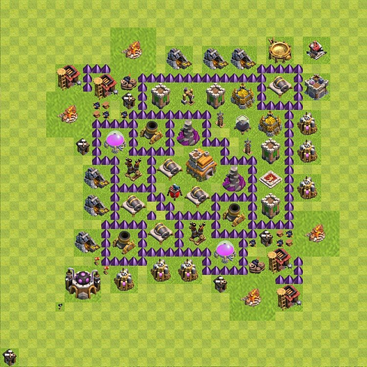 Base plan (layout) for trophies collecting TH  7 (Town Hall level 7, TH 7), variant 81