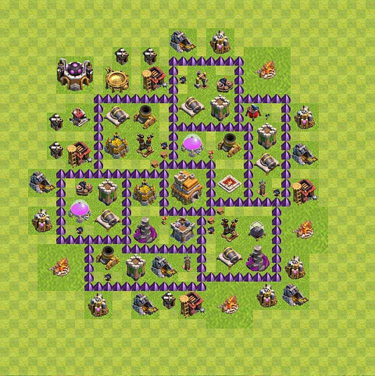 Base plan (layout) for trophies collecting TH  7 (Town Hall level 7, TH 7), variant 84