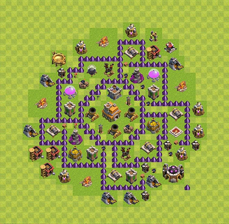 Base plan (layout) for trophies collecting TH  7 (Town Hall level 7, TH 7), variant 9