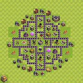 Base plan Town Hall level 7 for farming (variant 100)