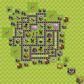 Base plan Town Hall level 7 for farming (variant 108)