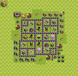 Base plan Town Hall level 7 for farming (variant 14)