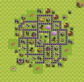Base plan Town Hall level 7 for farming (variant 19)
