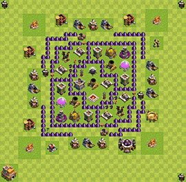 Base plan Town Hall level 7 for farming (variant 22)