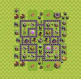 Base plan Town Hall level 7 for farming (variant 28)