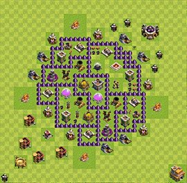 Base plan Town Hall level 7 for farming (variant 42)
