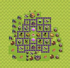 Base plan Town Hall level 7 for farming (variant 55)