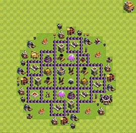 Base plan Town Hall level 7 for farming (variant 61)