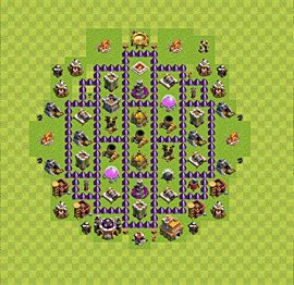 Base plan Town Hall level 7 for farming (variant 66)