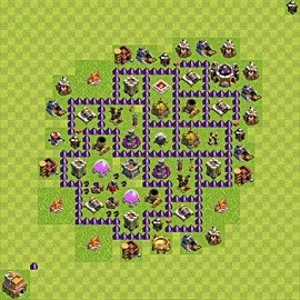 Base plan Town Hall level 7 for farming (variant 68)