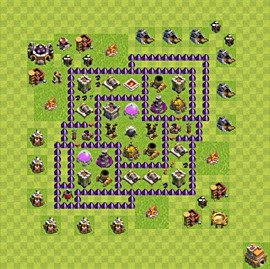 Base plan Town Hall level 7 for farming (variant 77)