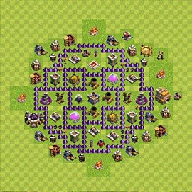 Base plan Town Hall level 7 for farming (variant 91)