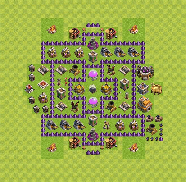 Base plan (layout) for farming TH 7 (Town Hall level 7), TH, th}), variant 10