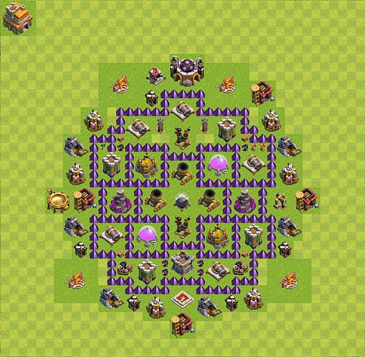 Base plan (layout) for farming TH 7 (Town Hall level 7), TH, th}), variant 13