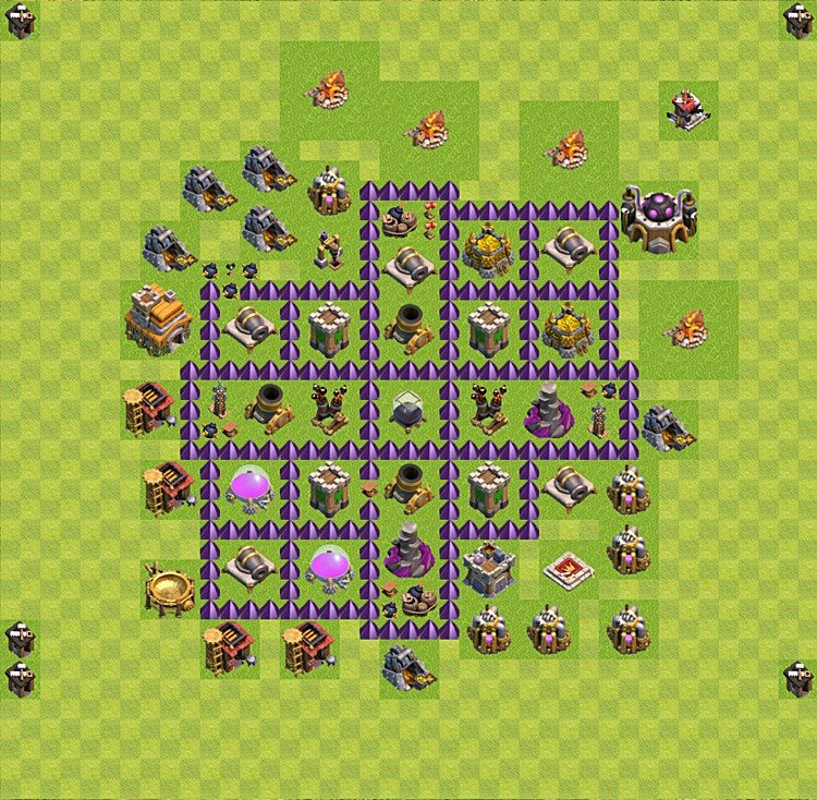 Base plan (layout) for farming TH 7 (Town Hall level 7), TH, th}), variant 15