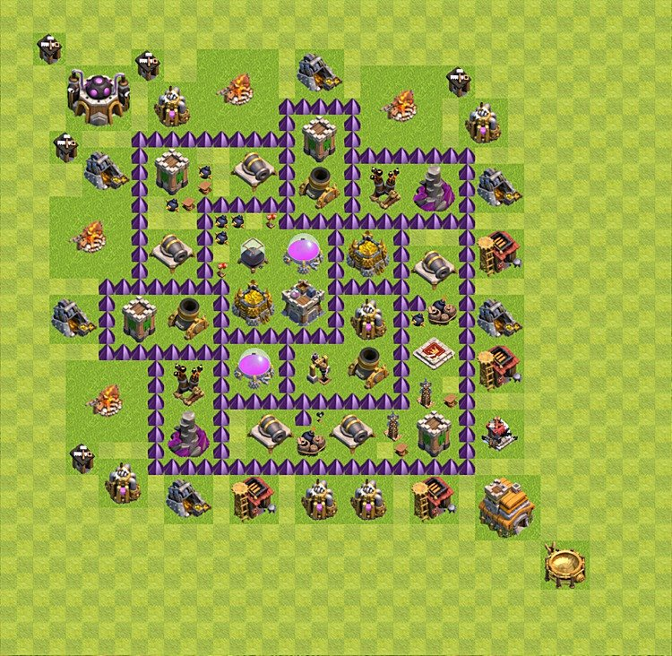 Base plan (layout) for farming TH 7 (Town Hall level 7), TH, th}), variant 21