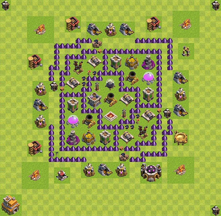 Base plan (layout) for farming TH 7 (Town Hall level 7), TH, th}), variant 22