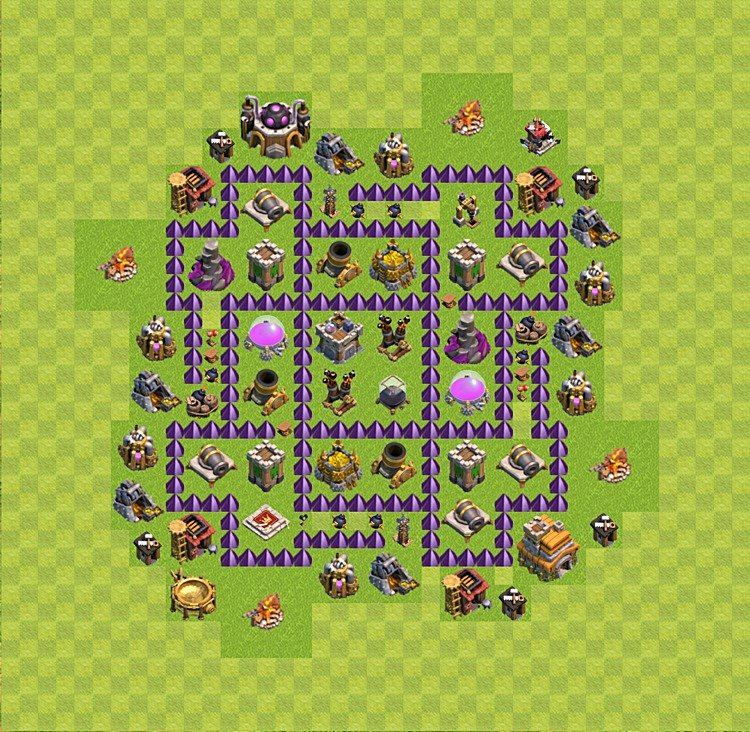 Base plan (layout) for farming TH 7 (Town Hall level 7), TH, th}), variant 29