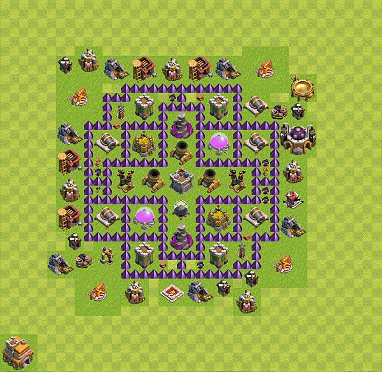 Base plan (layout) for farming TH 7 (Town Hall level 7), TH, th}), variant 31