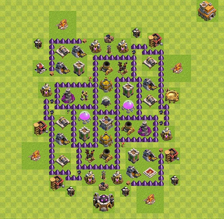 Base plan (layout) for farming TH 7 (Town Hall level 7), TH, th}), variant 32