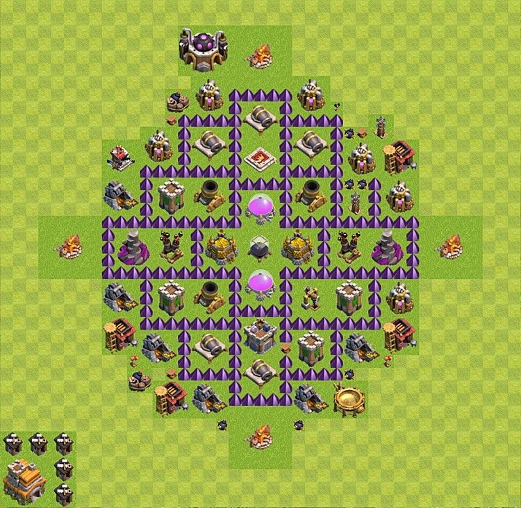 Base plan (layout) for farming TH 7 (Town Hall level 7), TH, th}), variant 4