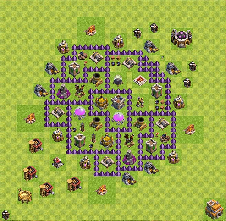 Base plan (layout) for farming TH 7 (Town Hall level 7), TH, th}), variant 42