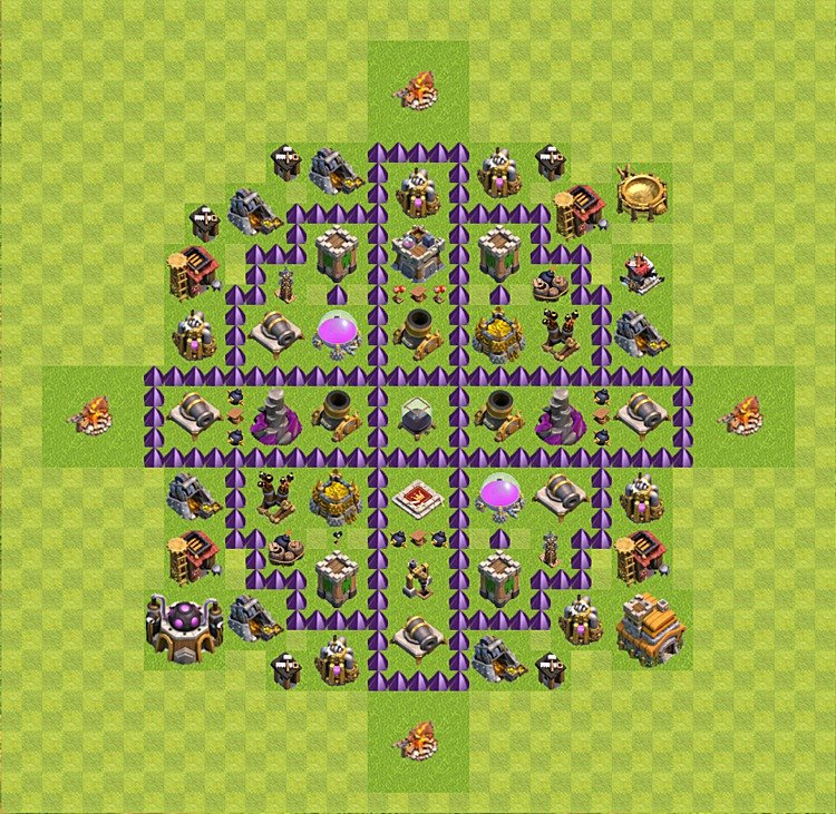 Base plan (layout) for farming TH 7 (Town Hall level 7), TH, th}), variant 43