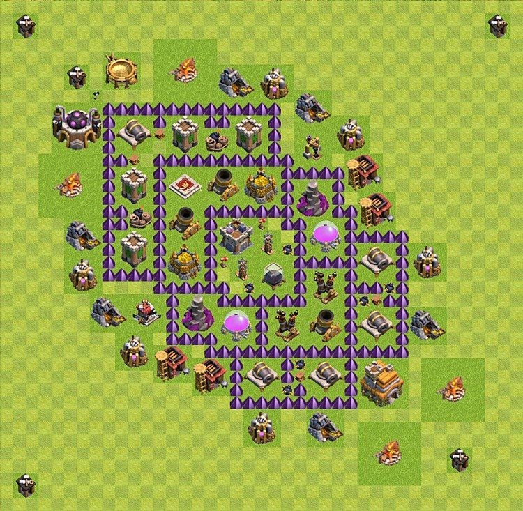 Base plan (layout) for farming TH 7 (Town Hall level 7), TH, th}), variant 44