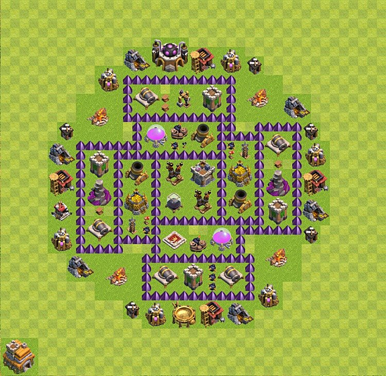 Base plan (layout) for farming TH 7 (Town Hall level 7), TH, th}), variant 46