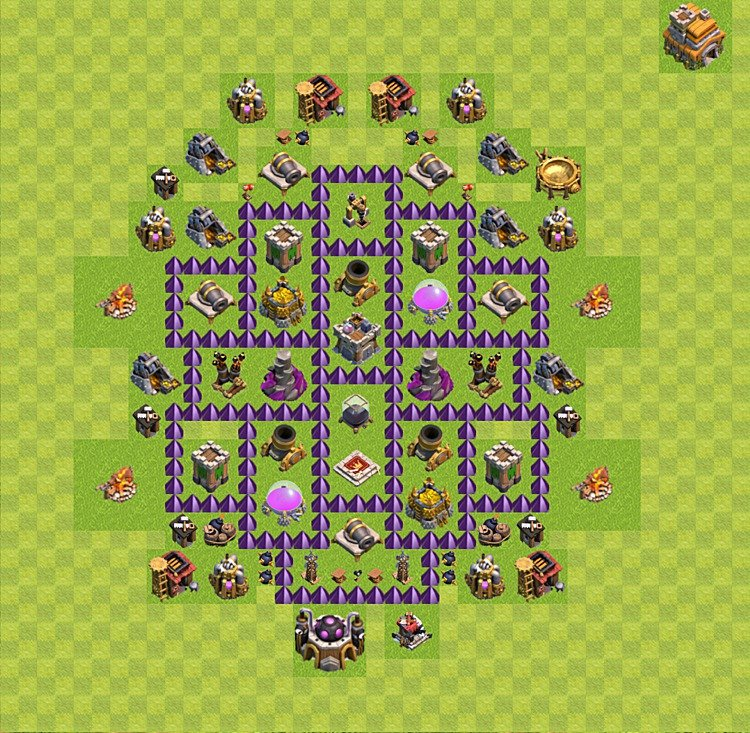 Base plan (layout) for farming TH 7 (Town Hall level 7), TH, th}), variant 47