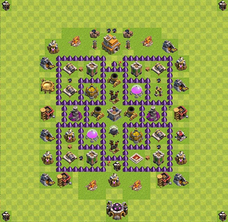 Base plan (layout) for farming TH 7 (Town Hall level 7), TH, th}), variant 49