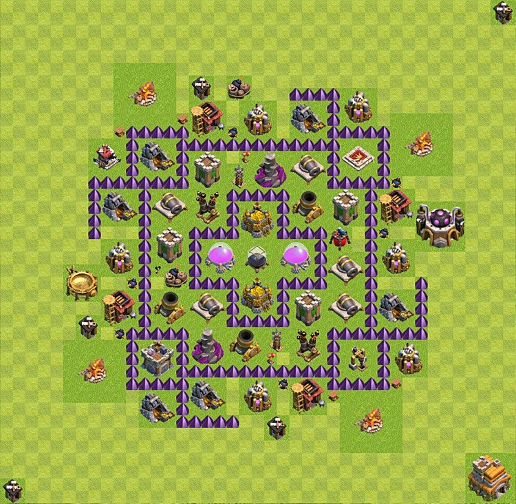 Base plan (layout) for farming TH 7 (Town Hall level 7), TH, th}), variant 57