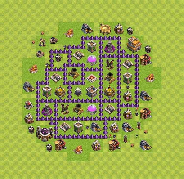 Base plan (layout) for farming TH 7 (Town Hall level 7), TH, th}), variant 6