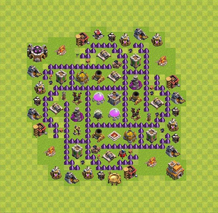 Ustawienie wioski bazy do farma clash of clans ratusz poziom 7 th