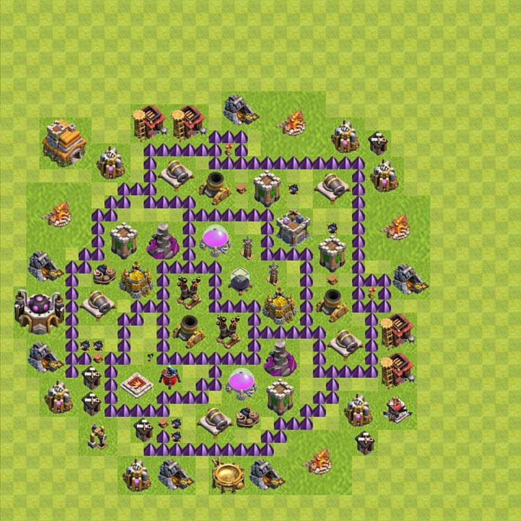Base plan (layout) for farming TH 7 (Town Hall level 7), TH, th}), variant 70