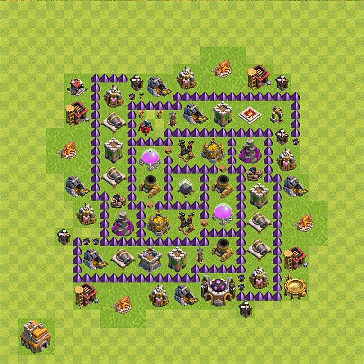clash of clans base plan layout for farming town hall level 7