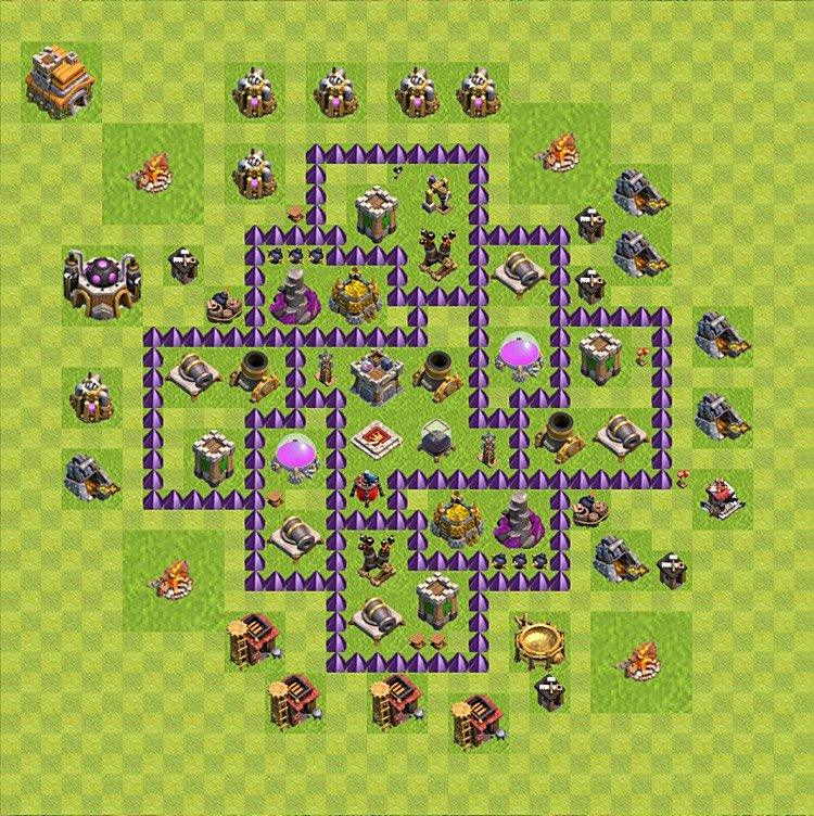 Base plan (layout) for farming TH 7 (Town Hall level 7), TH, th}), variant 73