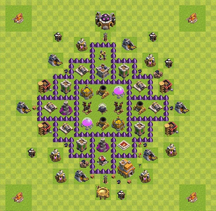 Base plan (layout) for farming TH 7 (Town Hall level 7), TH, th}), variant 8
