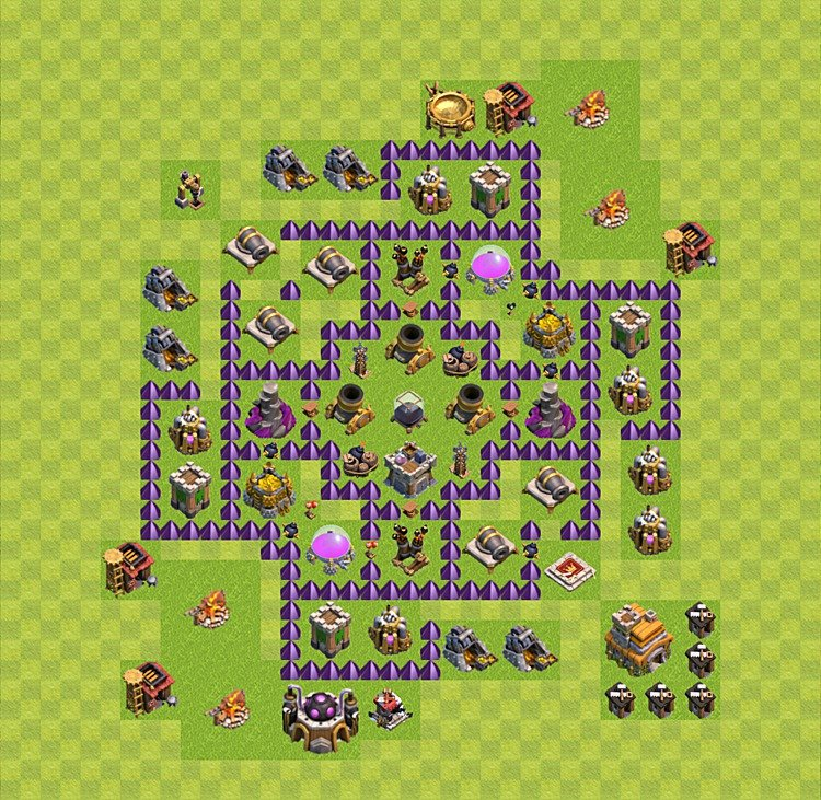 Base plan (layout) for farming TH 7 (Town Hall level 7), TH, th}), variant 9