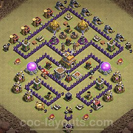 TH7 War Base Plan with Link, Copy Town Hall 7 Design 2020, #13