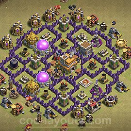 TH7 Anti 2 Stars War Base Plan with Link, Copy Town Hall 7 Design 2021, #24
