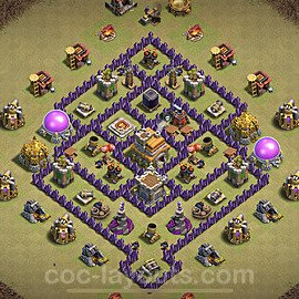 TH7 Anti 3 Stars War Base Plan with Link, Copy Town Hall 7 Design 2021, #26