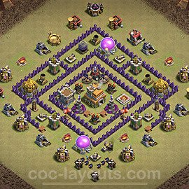 TH7 Anti 3 Stars War Base Plan with Link, Copy Town Hall 7 Design 2021, #28
