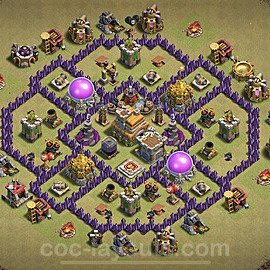 TH7 Anti 2 Stars CWL War Base Plan with Link, Copy Town Hall 7 Design 2021, #42