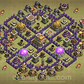 TH7 Max Levels CWL War Base Plan with Link, Copy Town Hall 7 Design 2021, #43